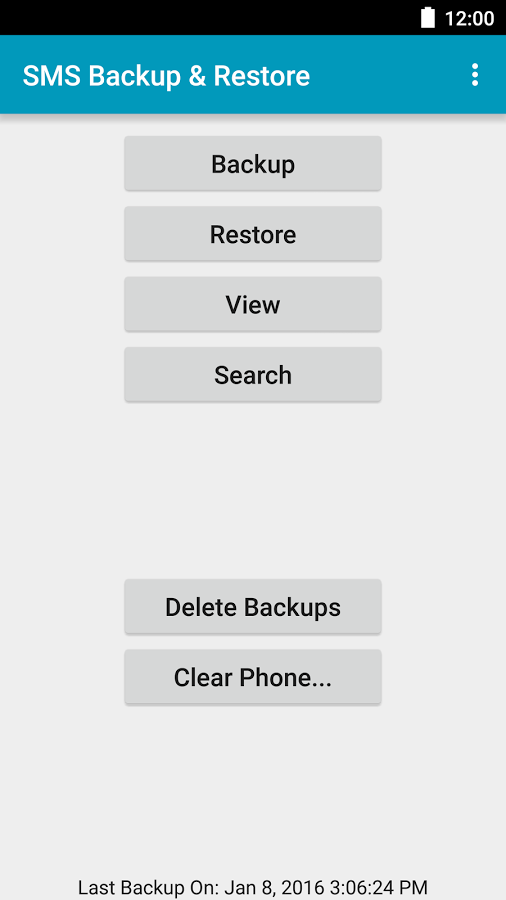 menu sms backup and restore