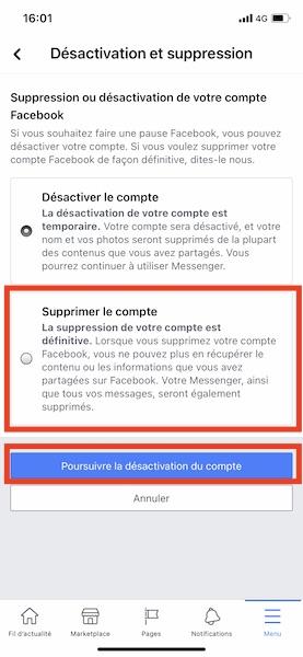Supprimer facebook sur téléphone 3