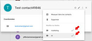 contact gmail groupes multiples