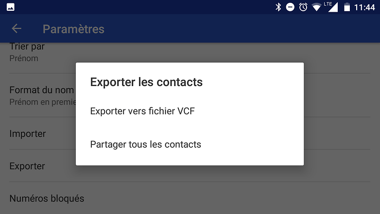 transfert contact android