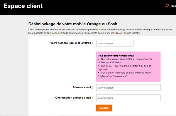 desimlockage orange gratuit